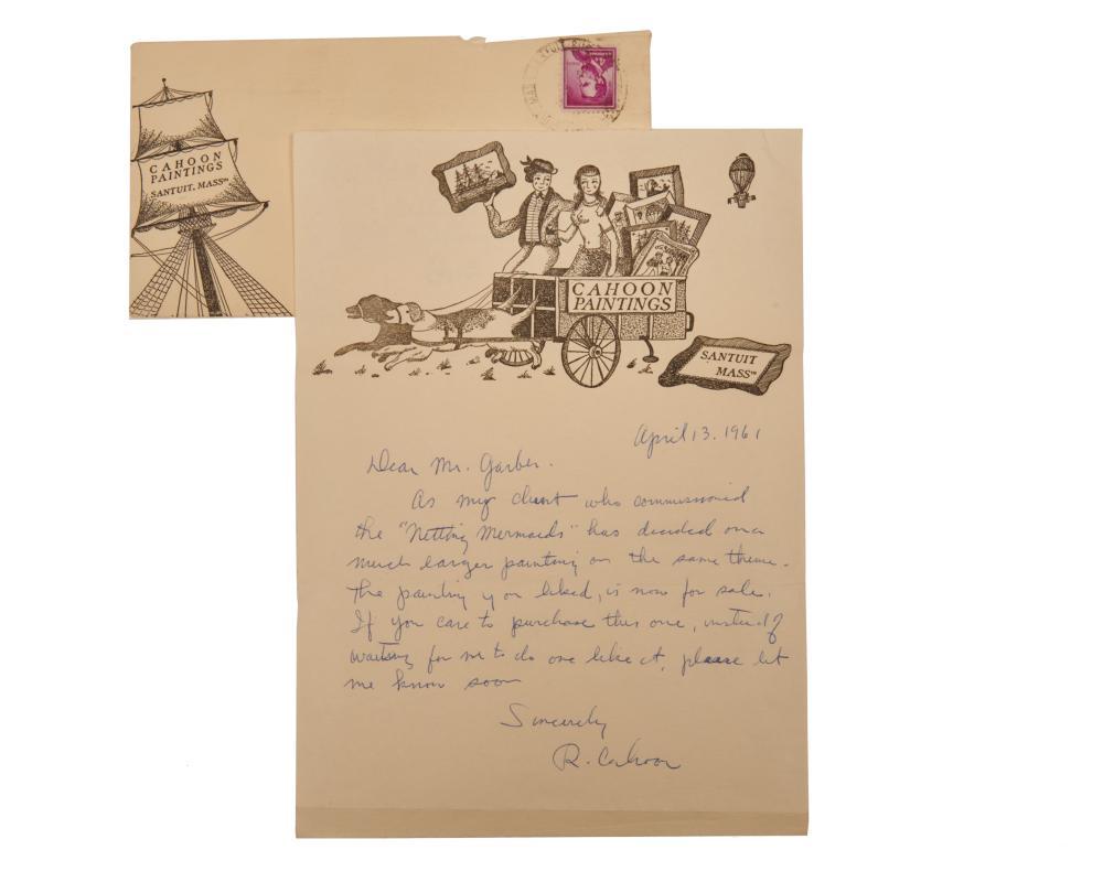 RALPH EUGENE CAHOON, JR., (American, 1910-1982), Netting Mermaids, oil on masonite, 16 x 22 in., frame: 18 3/4 x 25 in.
