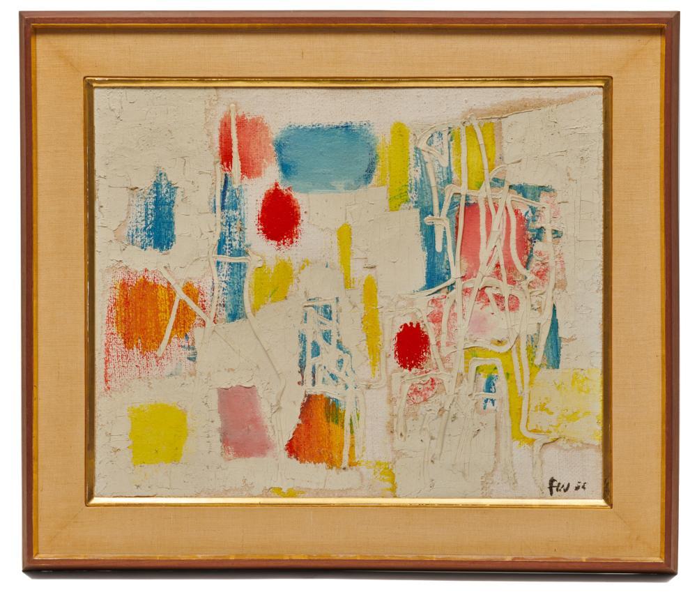 FRITZ WINTER, (German, 1905-1976), Summer Garden, 1955, oil on canvas, 17 3/4 x 22 in., frame: 23 1/2 x 27 1/2 in.
