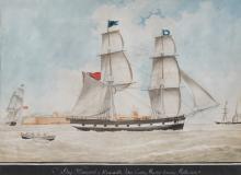 NICHOLAS CAMMILLIERI, (Maltese, 1762-1860), Brig. Margaret of Newcastle, 1850, watercolor, sight: 15 1/2 x 21 1/2 in., frame: 24 1/4 x 30 1/4