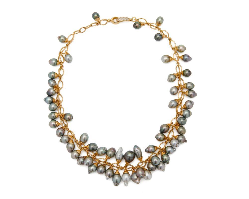 "TAMARA COMOLLI 18K Gold, Tahitian Pearl, and Diamond ""Grapes"" Necklace"