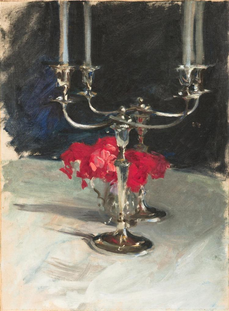 JOHN SINGER SARGENT, (American, 1856-1925), Candelabra with Roses, ca. 1885, oil on canvasboard, 21 x 16 in., frame: 26 x 20 1/4 in.