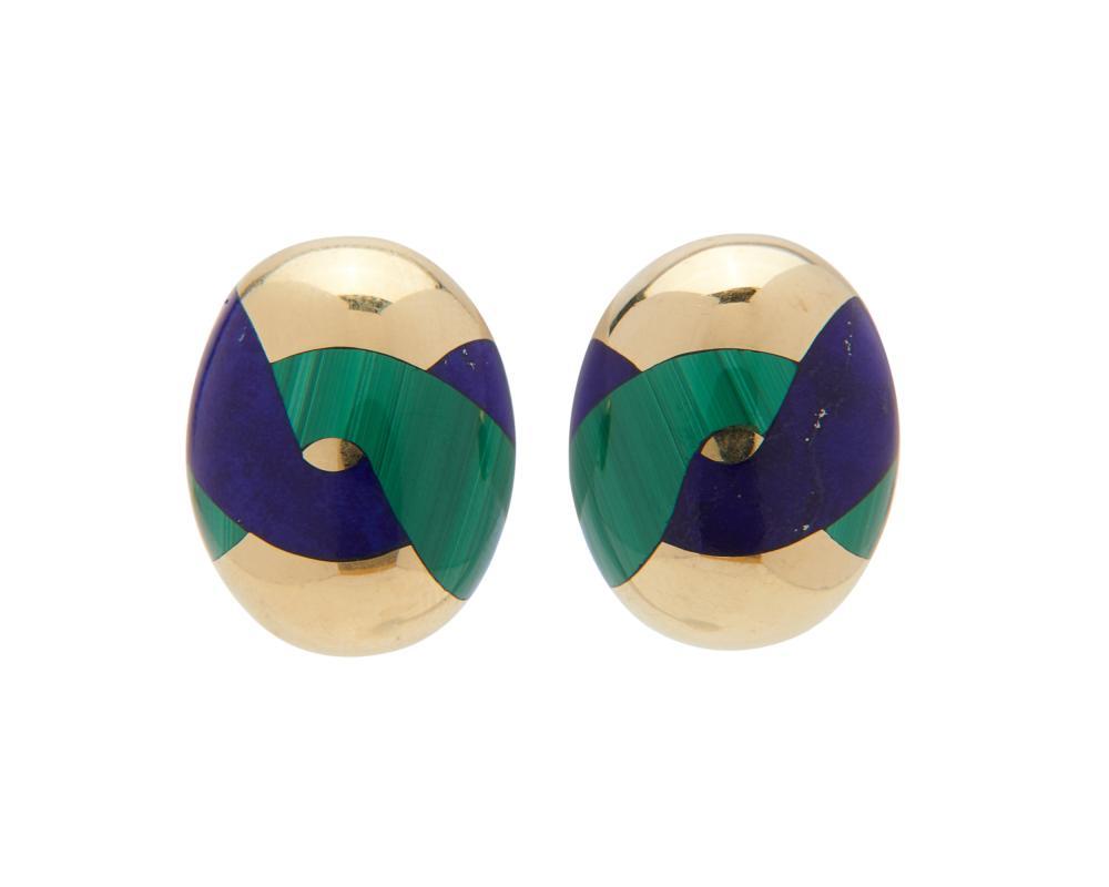 TIFFANY & CO., ANGELA CUMMINGS 18K Gold, Lapis, and Malachite Earrings
