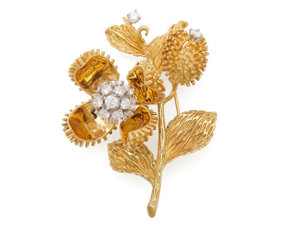 TIFFANY & CO. 18K Gold and Diamond Flower Brooch