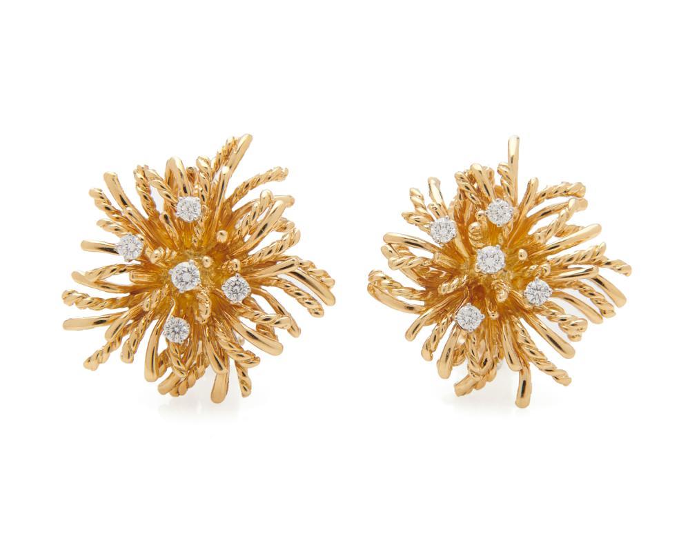 TIFFANY & CO. 18K Gold and Diamond 'Anemone' Earrings