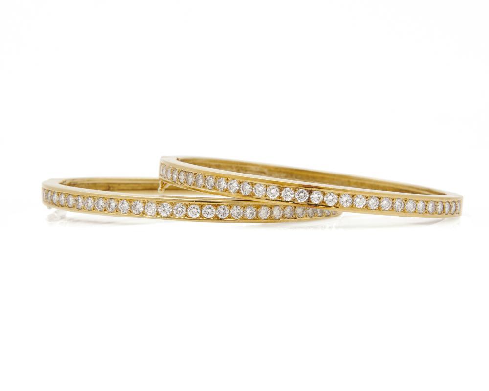 Pair of 18K Gold and Diamond Bangle Bracelets