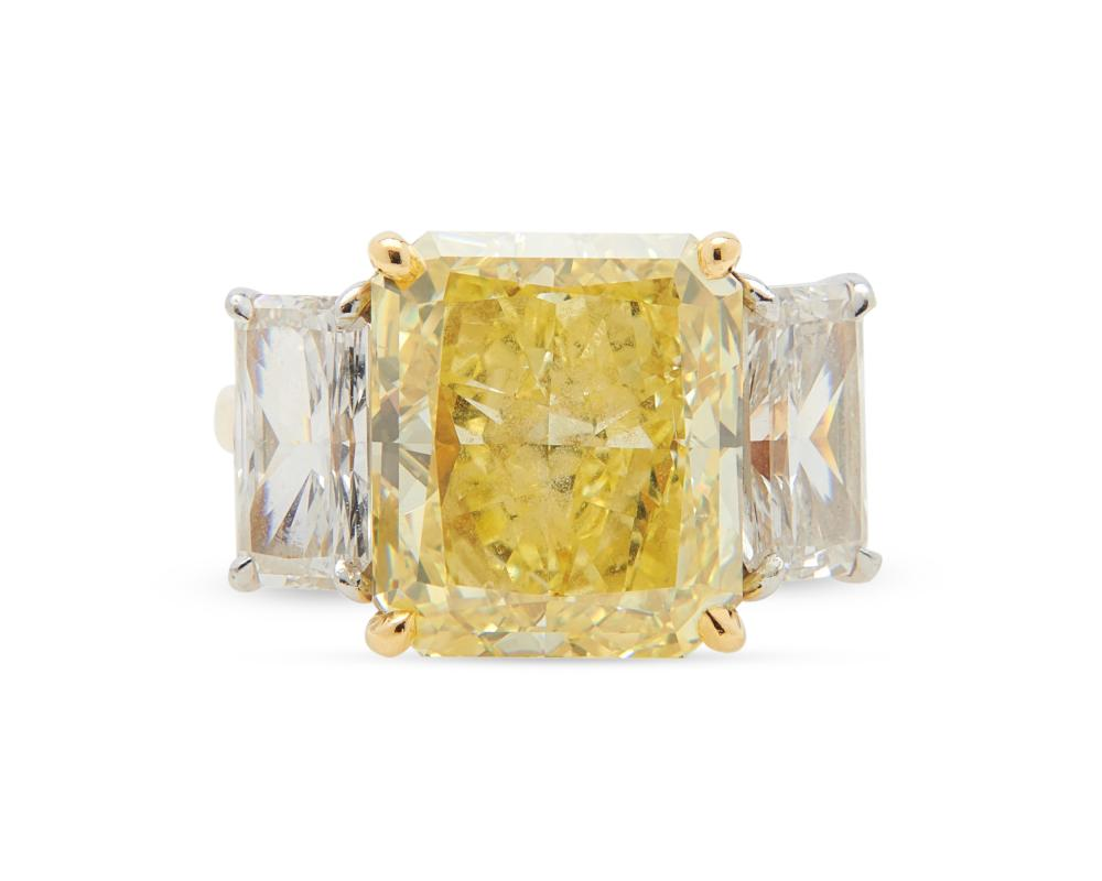 18K Gold, Platinum, Fancy Intense Yellow Diamond, and Diamond Ring