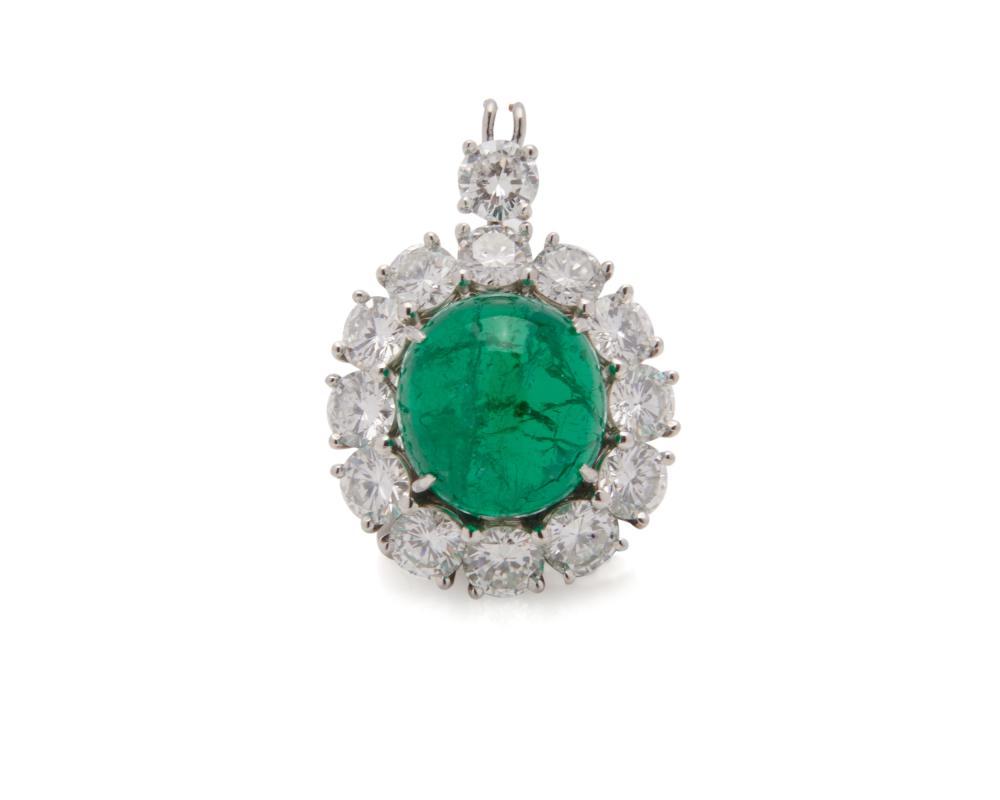 VAN CLEEF & ARPELS Platinum, Cabochon Colombian Emerald, and Diamond Pendant