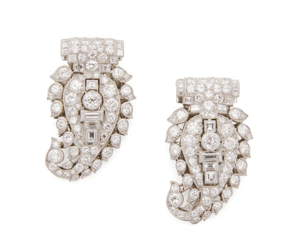 CARTIER Pair of Platinum and Diamond Dress Clips/Jabot