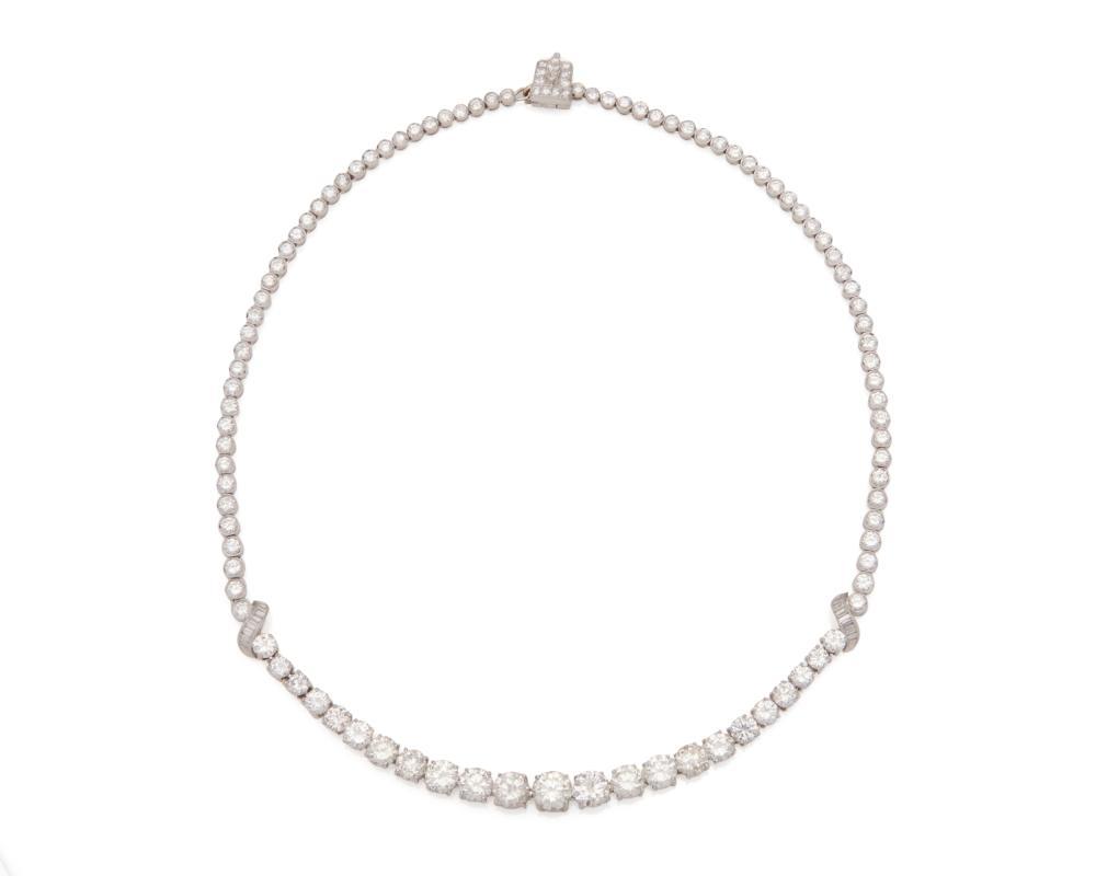 Platinum and Diamond Rivière Necklace