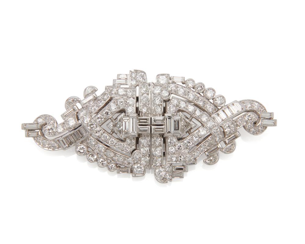 CARTIER Platinum & Diamond Dress Clips/Brooch