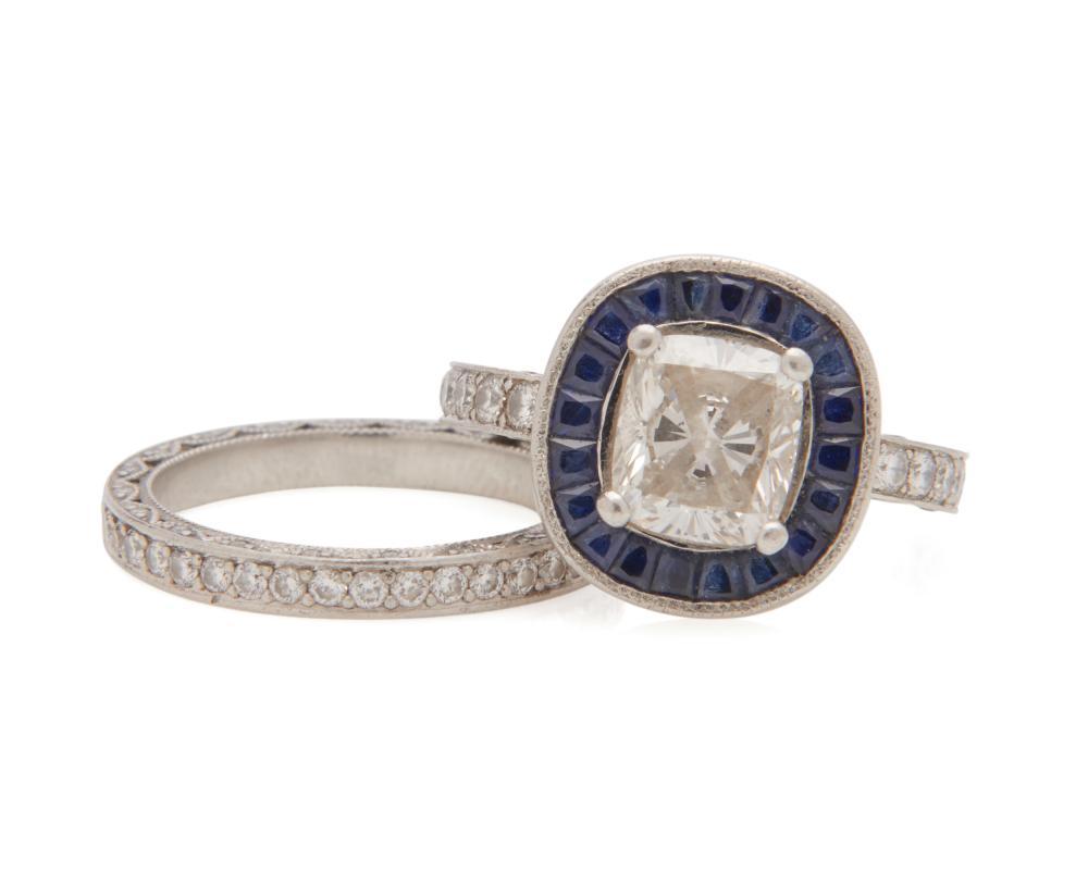 TACORI Platinum, Diamond, and Sapphire Ring and Eternity Band