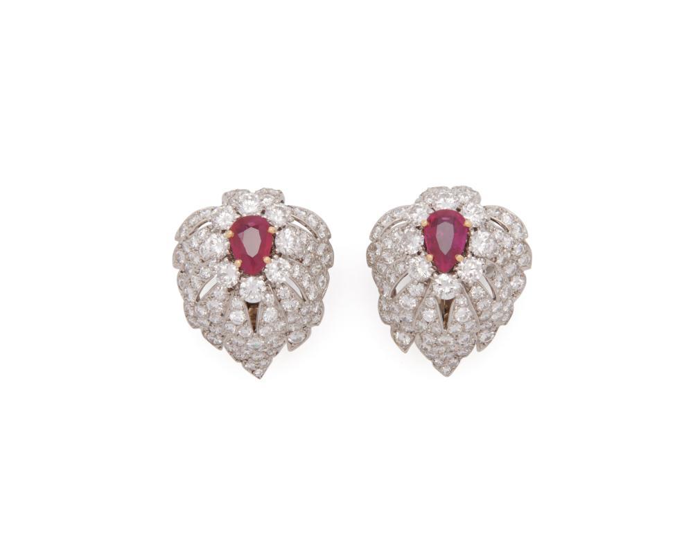 CARTIER Platinum, Burmese Ruby, and Diamond Earclips