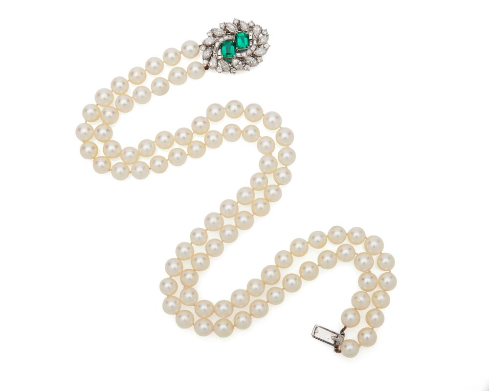 Double Strand Pearl Necklace with Platinum, Emerald, and Diamond Clasp