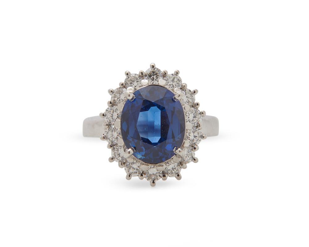 Platinum, Sapphire, and Diamond Ring