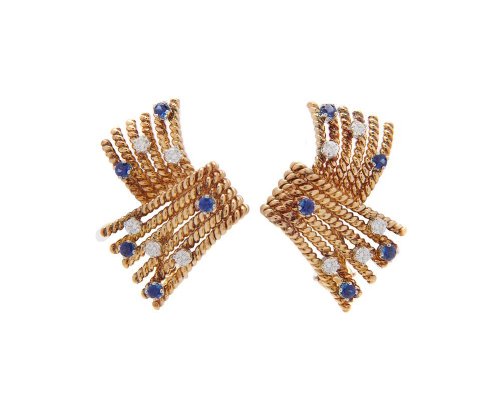 TIFFANY & CO., SCHLUMBERGER 18K Gold, Sapphire, and Diamond 'V-Rope' Earrings