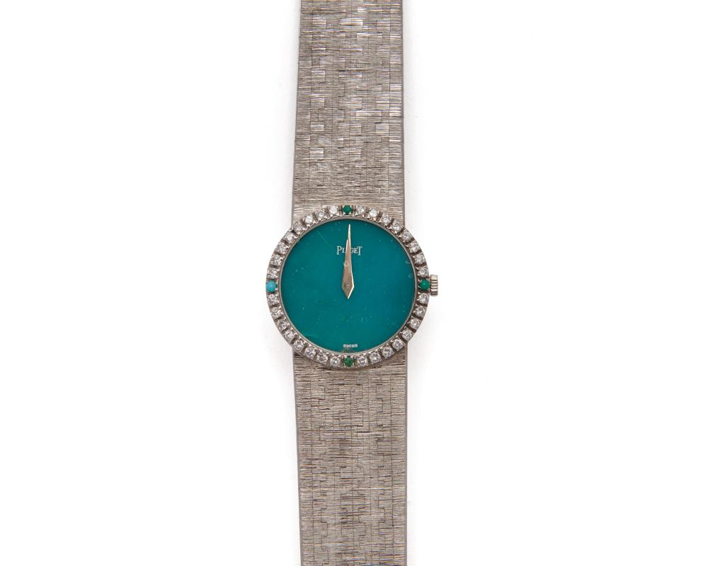 PIAGET 18K Gold, Diamond, and Turquoise Wristwatch