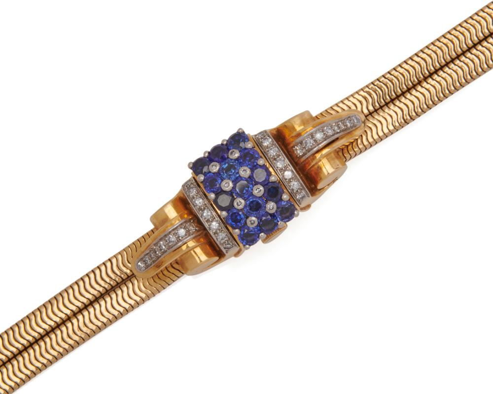 ROLEX 18K Gold, Sapphire, and Diamond Covered Wristwatch