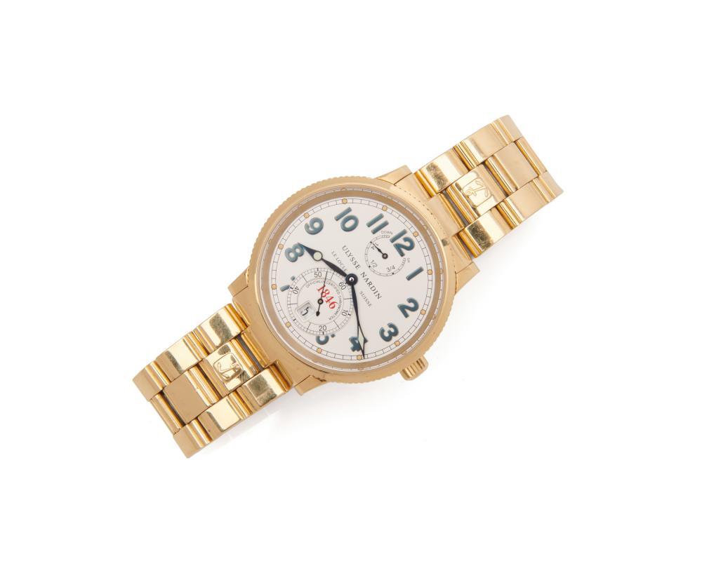 ULYSSE NARDIN 18K Gold 'Marine Chronometer' Wristwatch