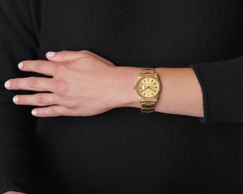 ROLEX 14K Gold 'Oyster Perpetual Date' Wristwatch
