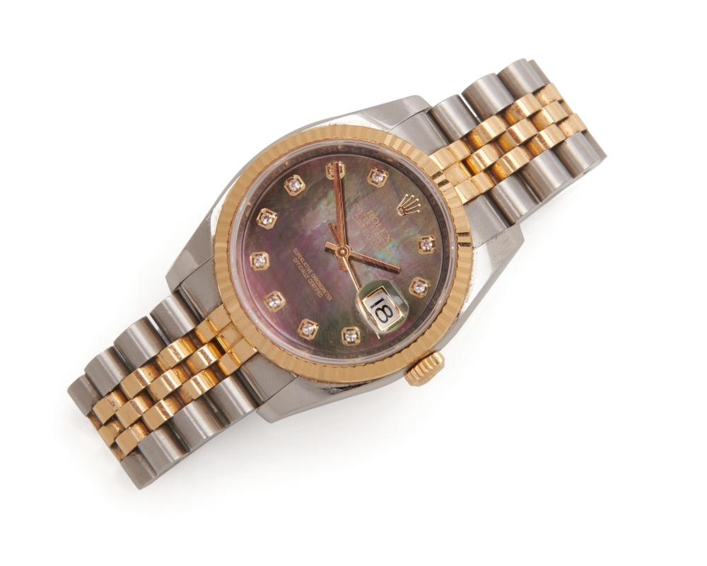 ROLEX 18K Gold and Stainless Steel 'Oyster Perpetual Datejust' Wristwatch