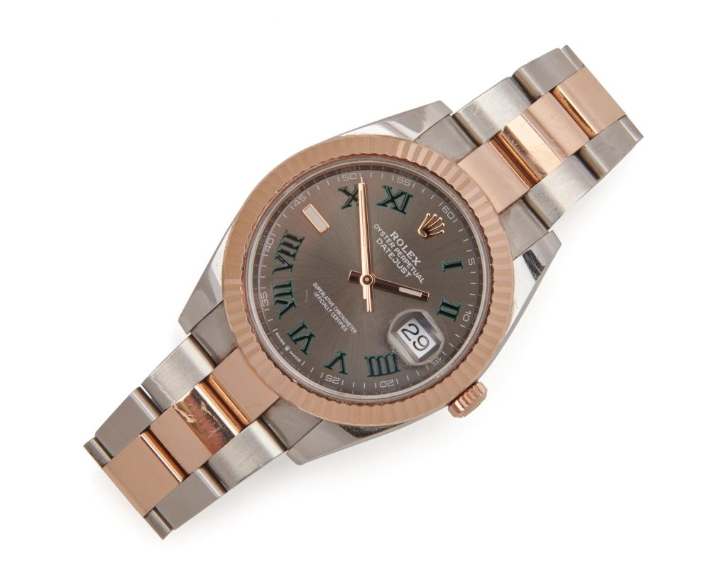 ROLEX 18K Gold and Stainless Steel 'Wimbledon Dial' Datejust Wristwatch