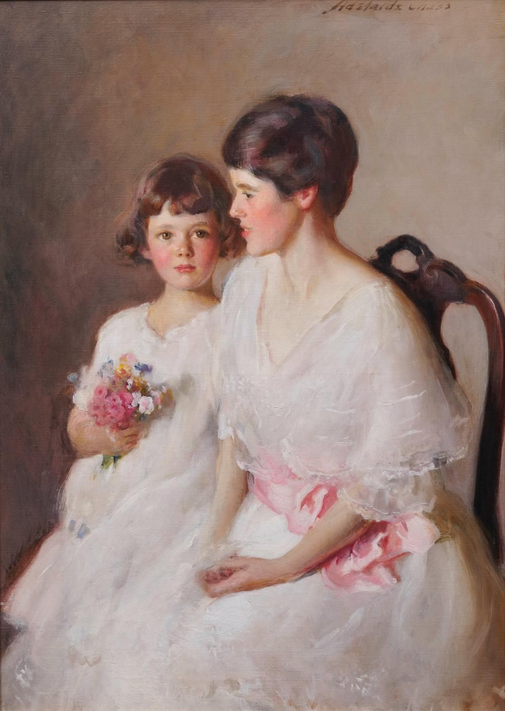 ADELAIDE COLE CHASE, (American, 1868-1944), The Two Alices, oil on canvas, 50 x 36 in., frame: 59 x 45 in.