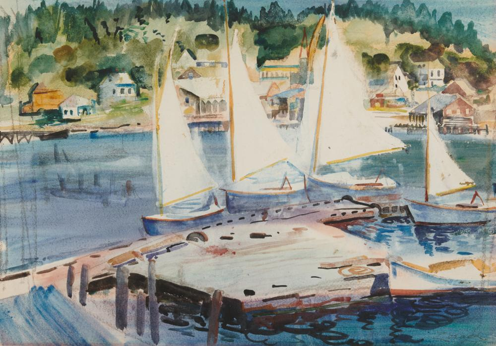 WILLIAM ZORACH, (American, 1887-1966), Drying Sails - Robinhood Cove, watercolor on paper, sight: 14 1/2 x 21 in., frame: 26 x 32 in.