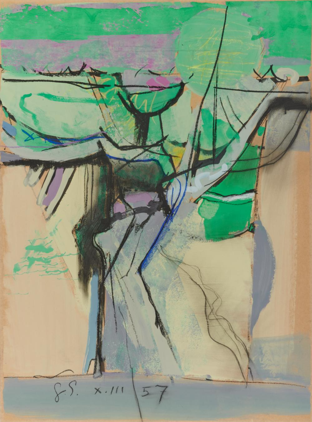 GRAHAM VIVIAN SUTHERLAND, (British, 1903-1980), Untitled, 1957, gouache, watercolor, and crayon on paper, sight: 37 x 27 1/2 in., frame: 47 1/2 x 38 in.