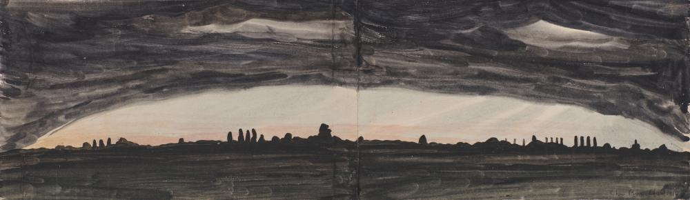 CHARLES EPHRAIM BURCHFIELD, (American, 1893-1967), Night Landscape, 1916, watercolor on joined paper, 8 x 26 3/4 in., frame: 16 1/2 x 35 in.