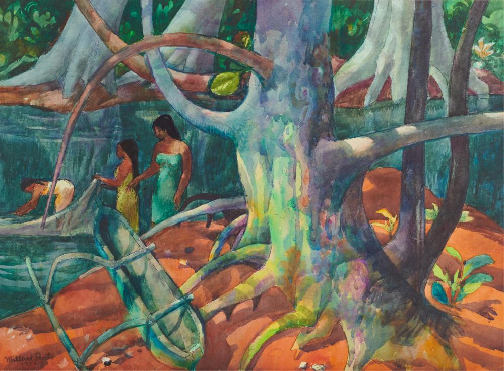 MILLARD SHEETS, (American, 1907-1989), Net Fishing - Moorea, 1979, watercolor, sheet: 22 x 30 in., frame: 31 1/2 x 39 1/2 in.