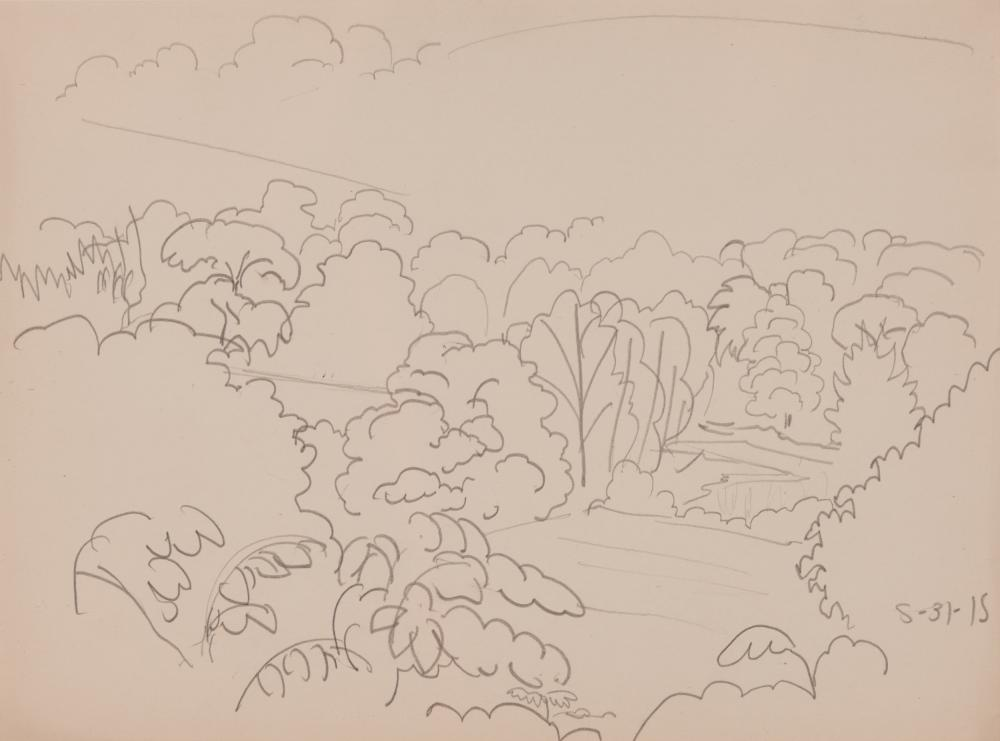 CHARLES EPHRAIM BURCHFIELD, (American, 1893-1967), Marshy Meadows, 1915, pencil on paper, sight: 7 1/2 x 10 in., frame: 15 x 17 1/2 in.