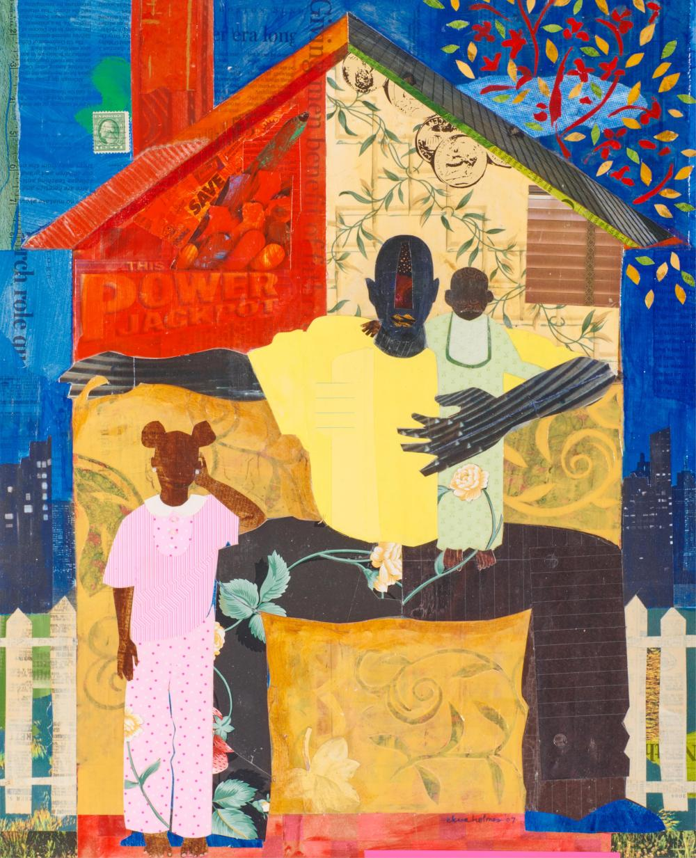 EKUA HOLMES, (American, b. 1955), Progeny, 2007, collage and mixed media on board, sight: 20 1/4 x 16 1/2 in., frame: 27 1/4 x 23 1/2 in.