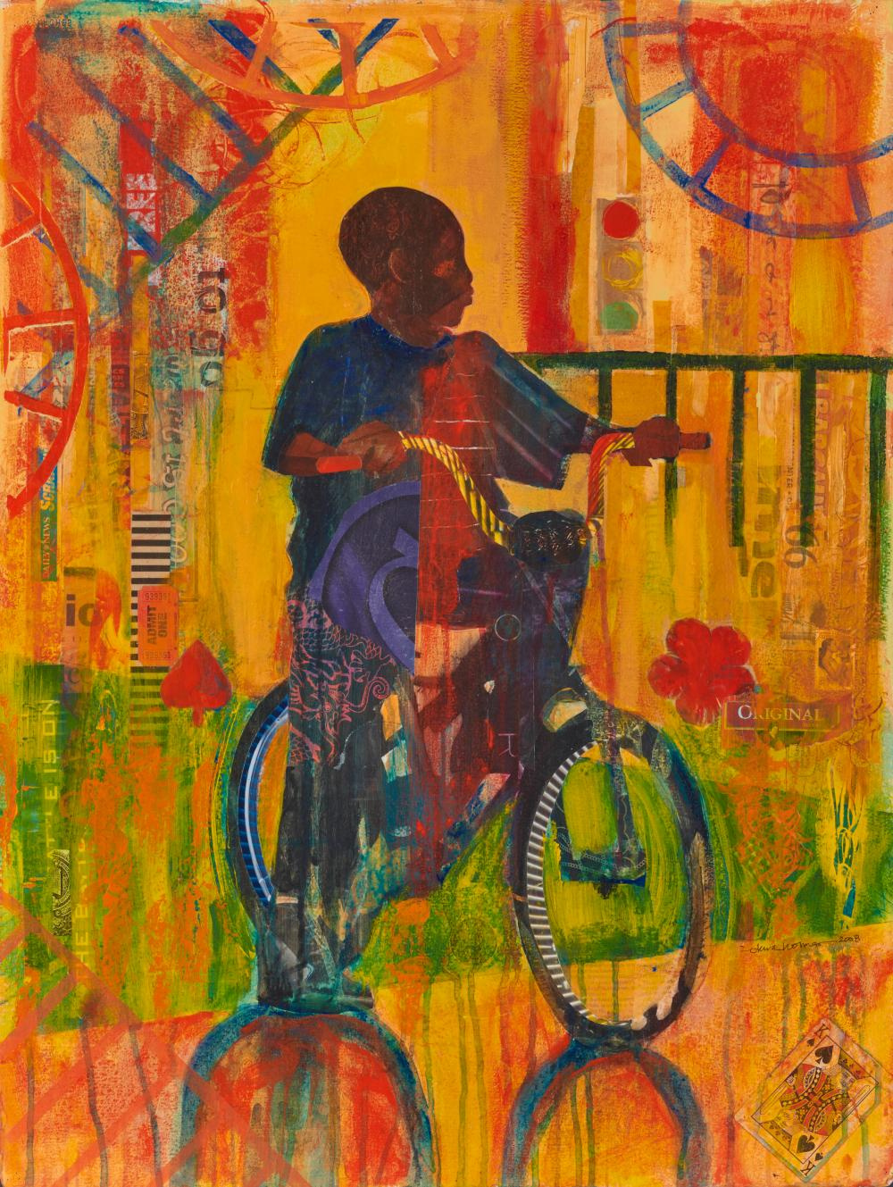 EKUA HOLMES, (American, b. 1955), Let the Games Begin, 2008, collage and acrylic on paper, 30 x 22 1/2 in., frame: 36 1/2 x 29 1/4 in.