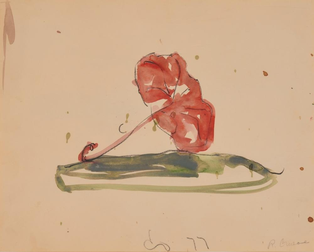 CLAES THURE OLDENBURG, (American, b. 1929), Crusoe Umbrella, 1977, watercolor and crayon on paper, sight: 11 x 13 3/4 in., frame: 18 1/8 x 21 in.