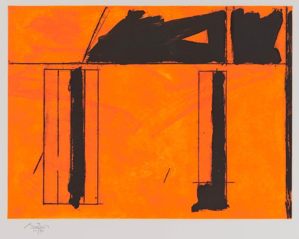 ROBERT BURNS MOTHERWELL, (American, 1915-1991), La Casa de la Mancha, 1984, etching, aquatint on paper, sight: 24 x 30 3/4 in., frame: 26 1/2 x 32 1/2 in.