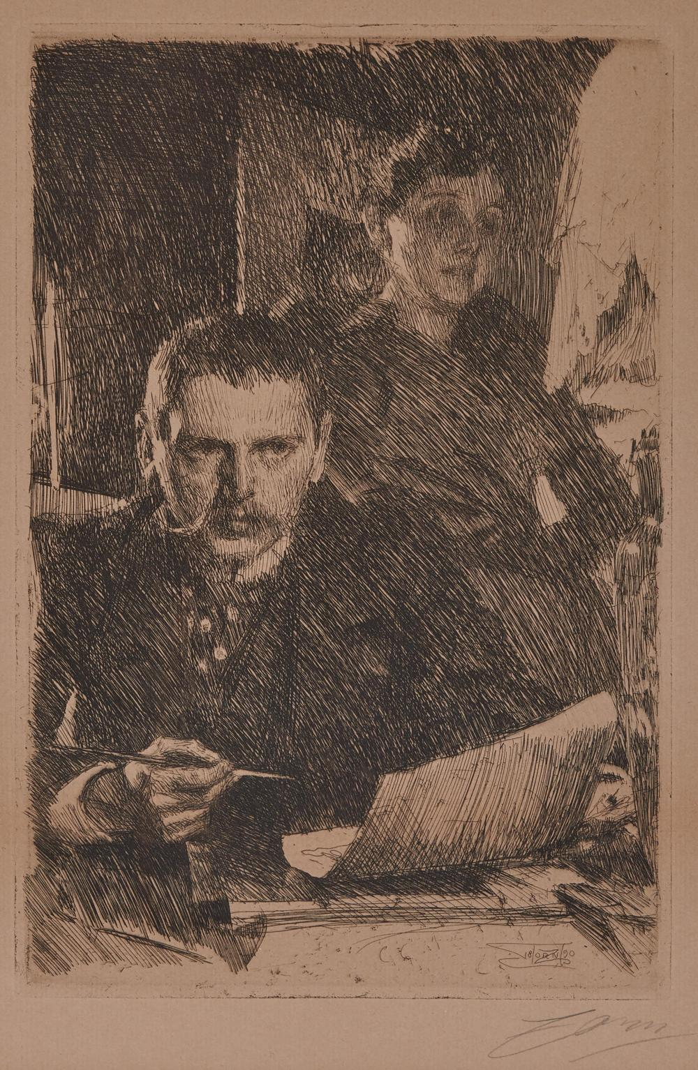 ANDERS ZORN, (Swedish, 1860-1920), Zorn and His Wife, 1890, etching on paper, sight: 14 1/2 x 10 1/4 in., frame: 22 1/4 x 17 7/8 in.
