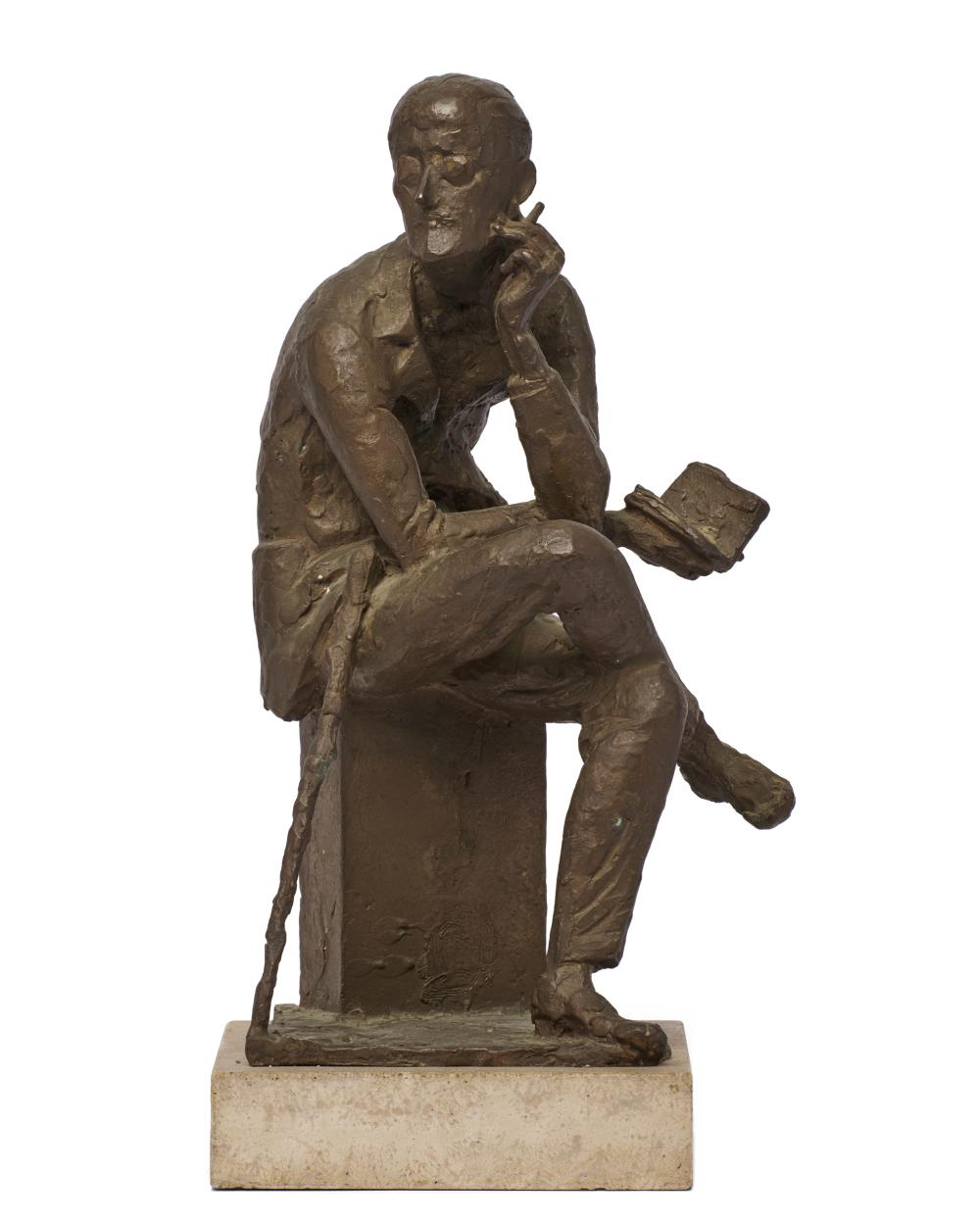 MILTON ELTING HEBALD, (American, 1917-2015), James Joyce, 1966, bronze, height: 16 1/2 in., mounted on a 2 in. base, overall height: 18 1/2 in.