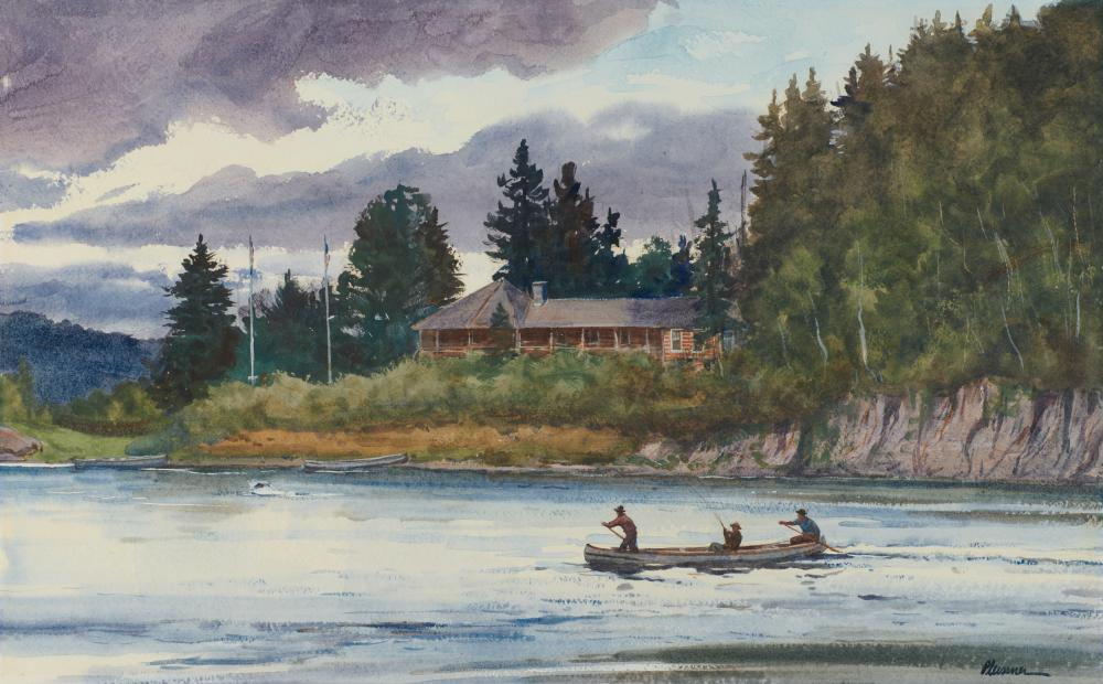 OGDEN MINTON PLEISSNER, (American, 1905-1983), Coming Ashore, Camp Harmony, watercolor on paper, sight: 16 1/2 x 26 1/4 in., frame: 27 1/2 x 37 1/2 in.