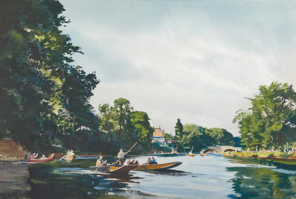 OGDEN MINTON PLEISSNER, (American, 1905-1983), On the River Avon, Stratford-upon-Avon, 1944, watercolor on paper, sight: 11 5/8 x 17 3/4 in., frame: 19 1/2 x 25 1/2 in.