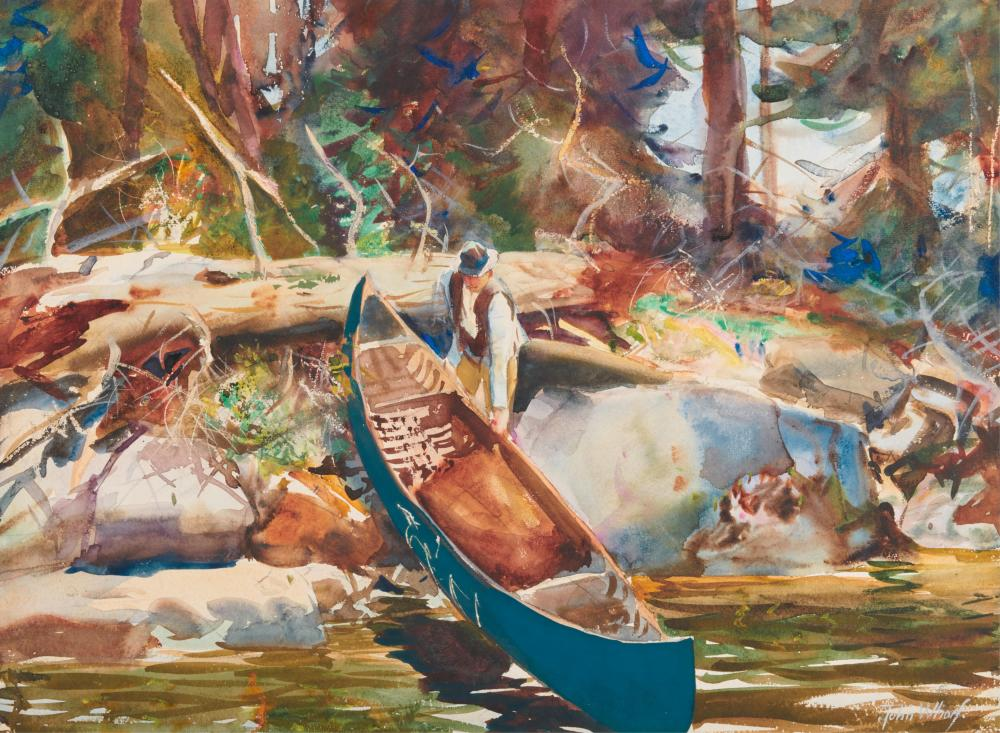 JOHN WHORF, (American, 1903-1959), Pulling the Canoe, 1930, watercolor on paper, sheet: 16 1/2 x 21 1/2 in., frame: 23 1/2 x 28 1/2 in.