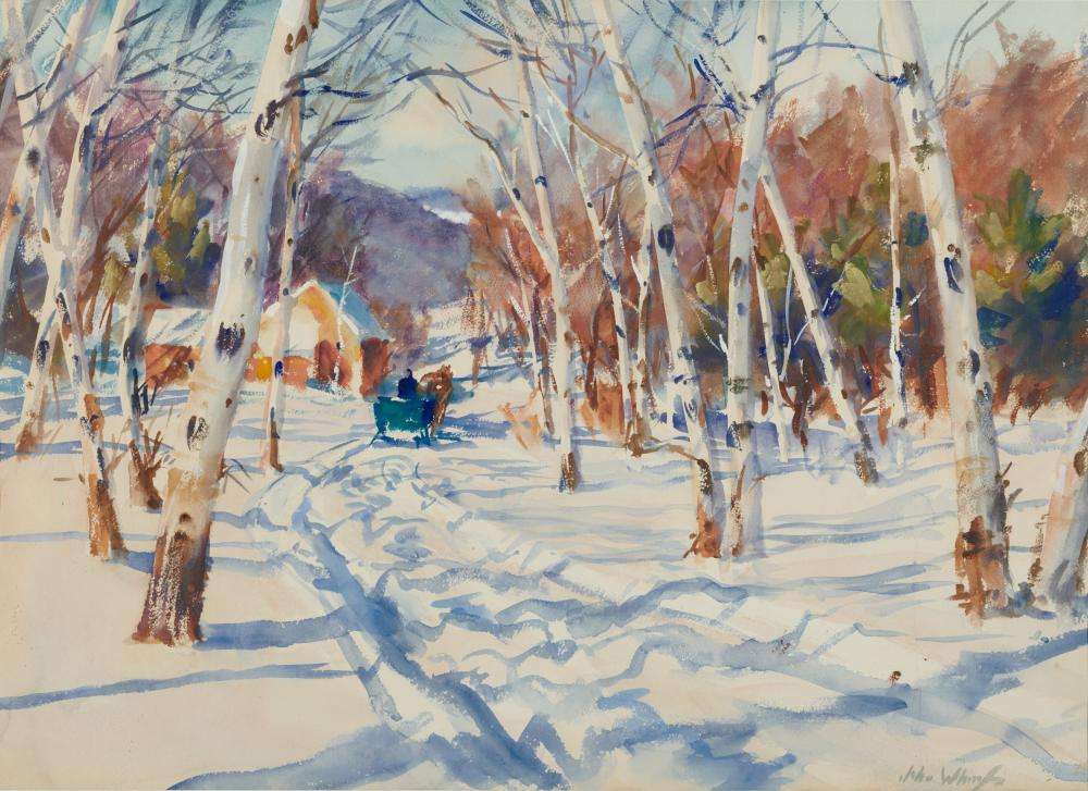 JOHN WHORF, (American, 1903-1959), Winter Morning Through the Birches, watercolor on paper, sheet: 22 1/4 x 30 1/4 in., frame: 30 x 37 1/2 in.