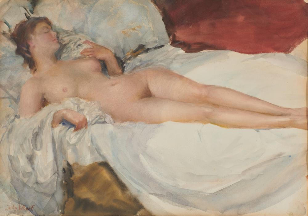 JOHN WHORF, (American, 1903-1959), Reclining Nude, watercolor on paper, sheet: 158 3/ x 22 in., frame: 24 3/4 x 29 3/4 in.