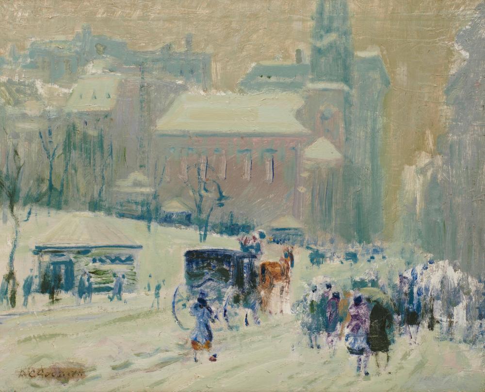 ARTHUR CLIFTON GOODWIN, (American, 1864-1929), Park Street Church, oil on canvas, 18 x 22 in., frame: 24 1/2 x 28 3/4 in.