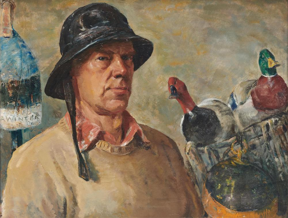 ANDREW GEORGE WINTER, (American, 1893-1958), Self Portrait with Decoys, oil on canvas, 22 x 28 in., frame: 26 1/2 x 32 1/2 in.
