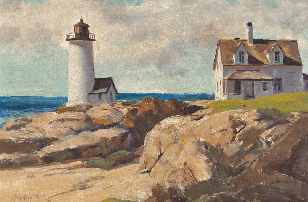 ANDREW GEORGE WINTER, (American, 1893-1958), Annisquam Light, oil on masonite, 12 x 18 in., frame: 15 3/4 x 21 7/8 in.