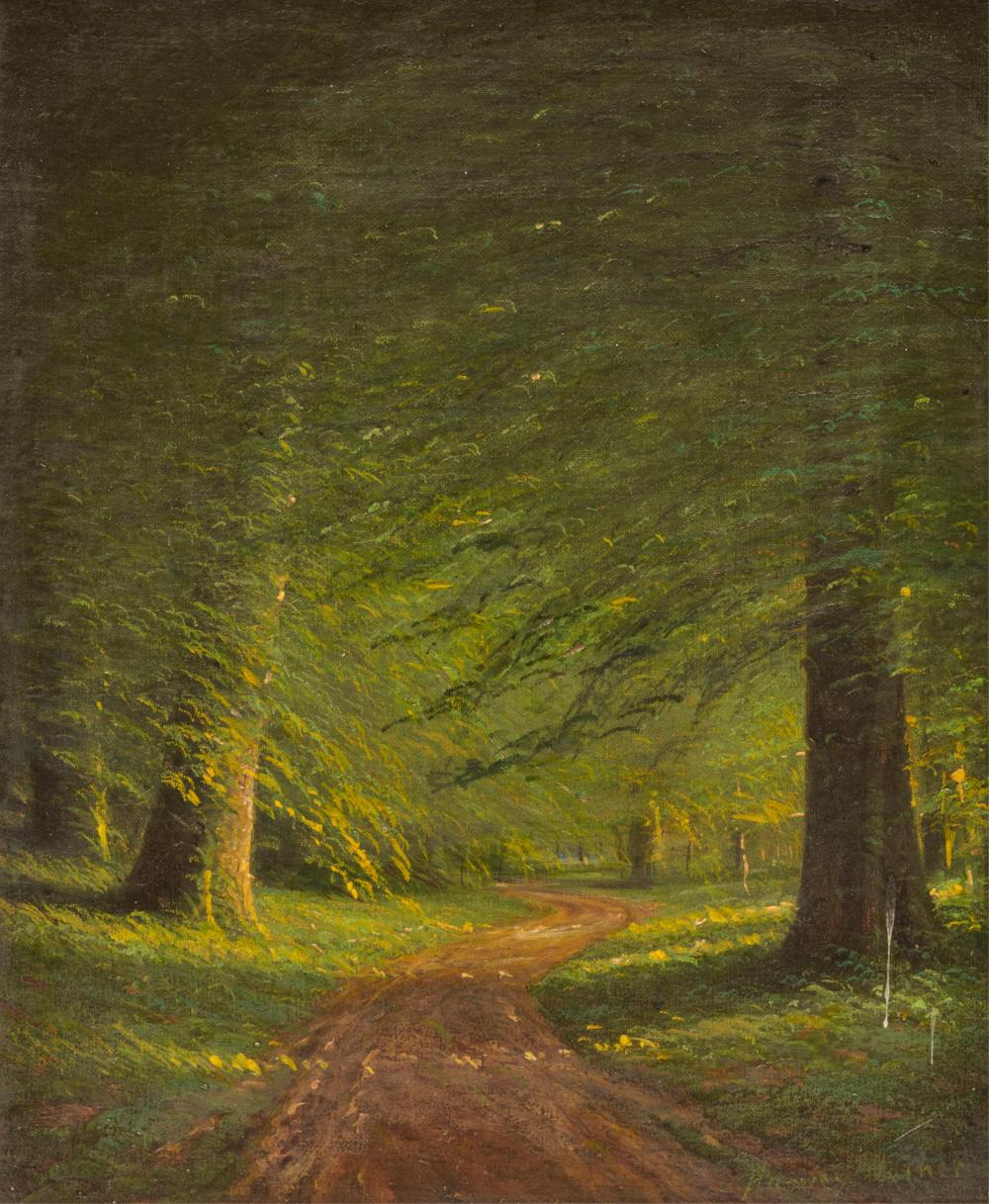 HARVEY JOINER, (American, 1852-1932), Road Through the Woods, oil on canvasboard, 12 x 10 in., frame: 20 x 17 3/4 in.