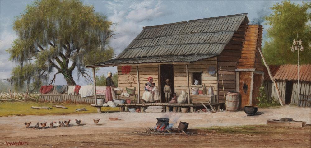 WILLIAM AIKEN WALKER, (American, 1838-1921), Cabin Scene, oil on board, 7 3/8 x 14 in., frame: 9 x 15 in.