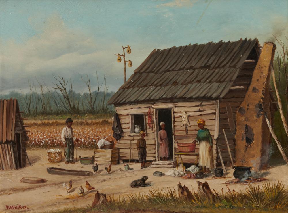 WILLIAM AIKEN WALKER, (American, 1838-1921), Plantation Scene, oil on board, 13 x 16 in., frame: 18 5/8 x 21 5/8 in.
