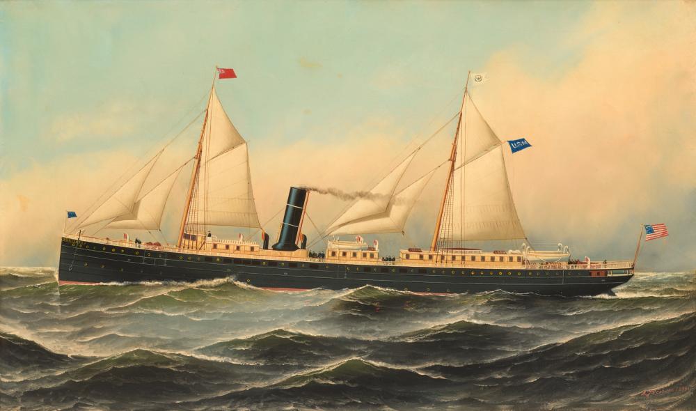 ANTONIO NICOLO GASPARO JACOBSEN, (American, 1850-1921), The Santiago, 1890, oil on canvas, 18 x 30 in., frame: 23 1/2 x 35 1/2 in.