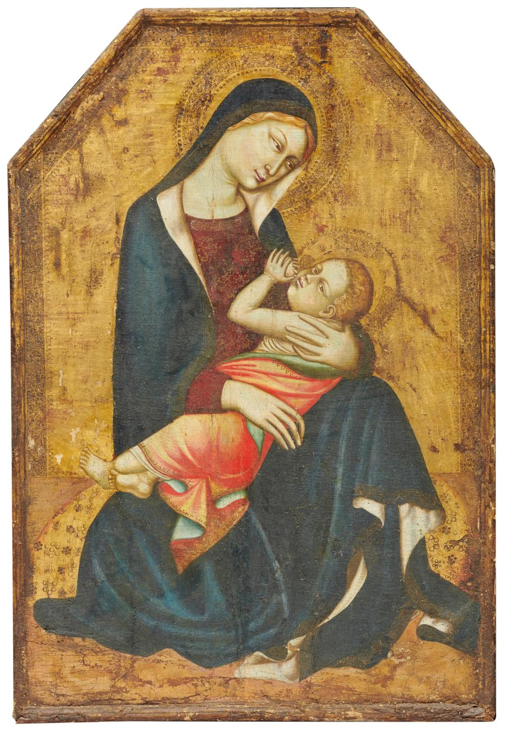 After LIPPO MEMMI, (Italian, ca. 1291-1356), Madonna and Child, oil on panel, 31 1/2 x 21 1/2 in., frame: 41 x 31 in.
